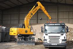 Skip Hire in Brentwood unloading a lorry